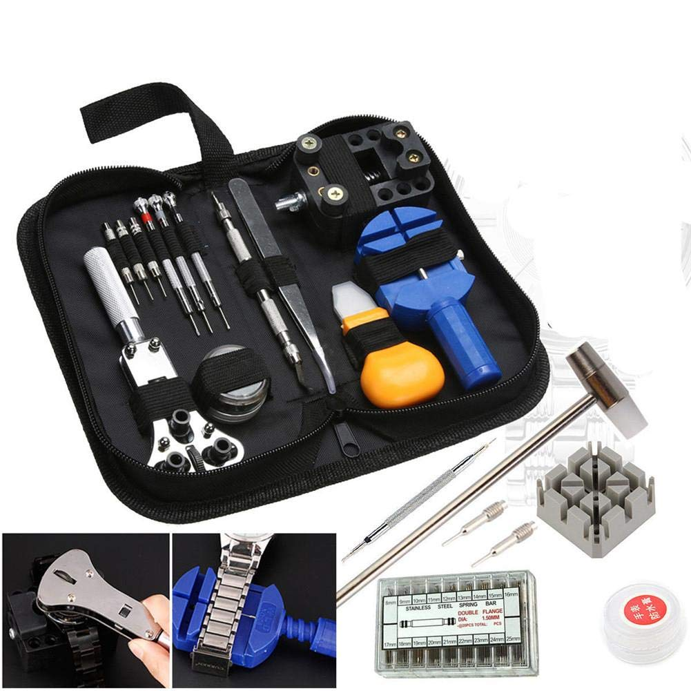 iBaste_S 380Pcs Professional Watch Repair Tool Kit Watch Back Case Holder Opener Link Remover Spring Bar Watchmaker Tool Kit with Carrying Case