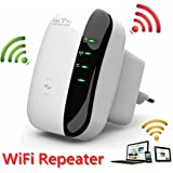 Wi-Fi Repeater Wireless Amplificatore Extender Amplificatore Wireless N Nero 300Mbps Mini Access Point AP WLAN IEEE802.11N / G / B Router di rete Segnale Booster 2.4GHz Adattatore di rete Antenne inte