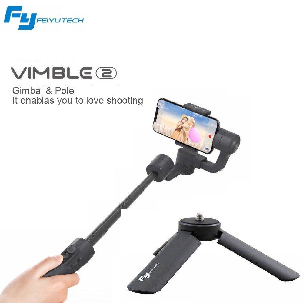 Feiyu Vimble 2 Handheld estabilizador cardan de 3 ejes para telé fonos inteligentes con varilla de estabilizació n de trí pode (Black)