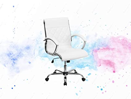 Groovy Amazon Com Guplus Mid Back Designer White Leather Executive Squirreltailoven Fun Painted Chair Ideas Images Squirreltailovenorg