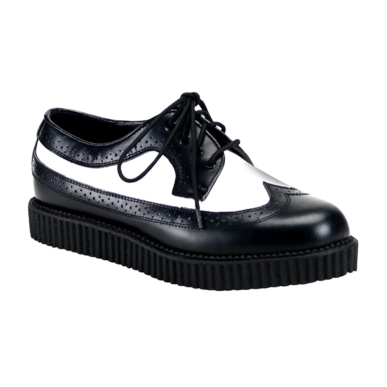 Mens Leather Creeper Shoes 1 Inch Platform WingTip Spectator Oxfords MEN SIZING $82.95 AT vintagedancer.com