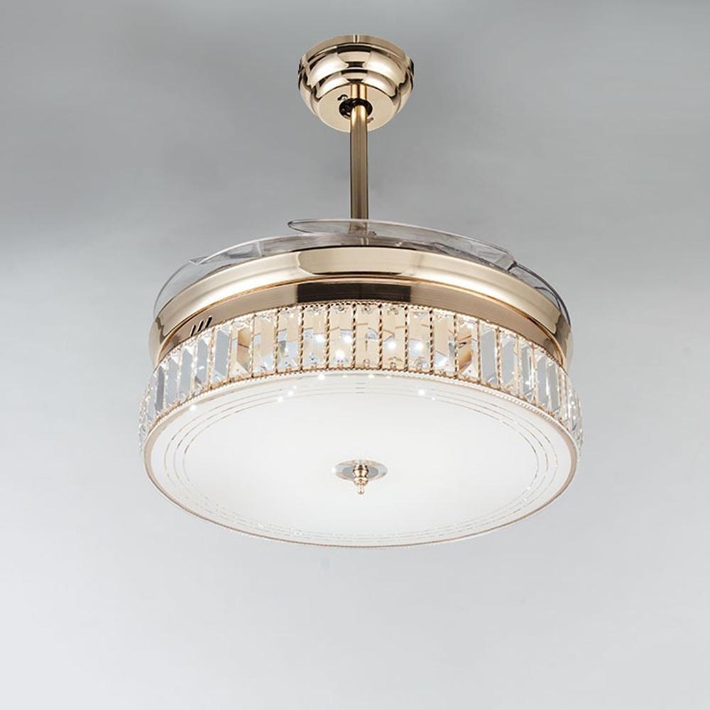 KHSKX European-led stealth ceiling fan lights, the new Crystal stealth ceiling fan light, stylish dining room living room fan chandelier by KHSKX (Image #2)