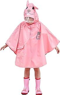Bwiv Poncho Antipioggia Bambino Impermeabile Bambina Mantella Pioggia Bimbo con Cappuccio Traspirante Leggero per I Bambini 4-8 Anni