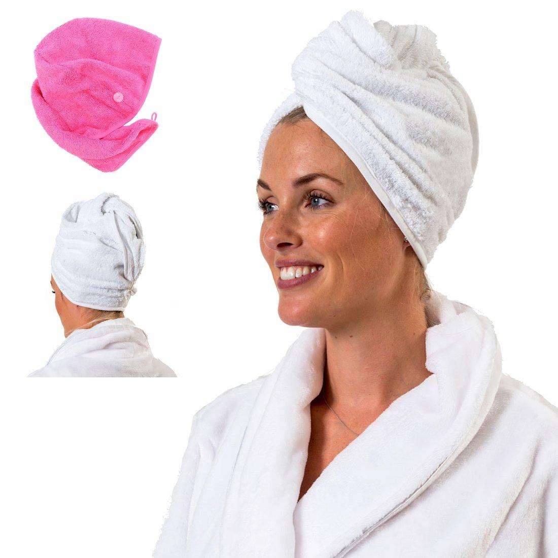 Towelsrus Turbante per capelli, asciugamano molto assorbente e leggero, in cotone