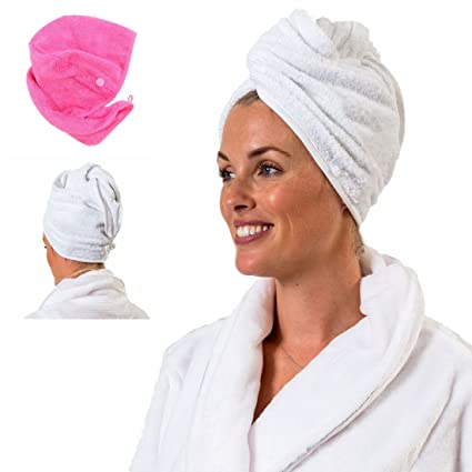 TowelsRus Spa Days Luxury Hair Turban, White, Absorbent Towel and Lightweight Cotton by Aztex