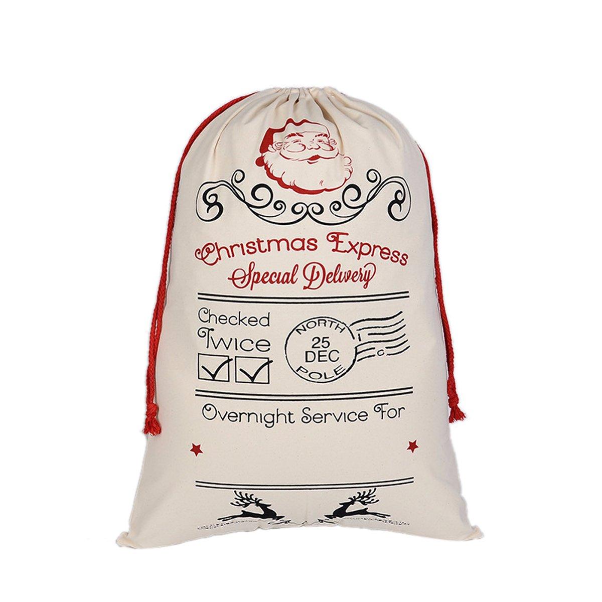 AOLOSHOW Personalized Santa Sack Custom Any My Name Cotton Large Name Holiday Presents XM01024AMUS2HC36987542