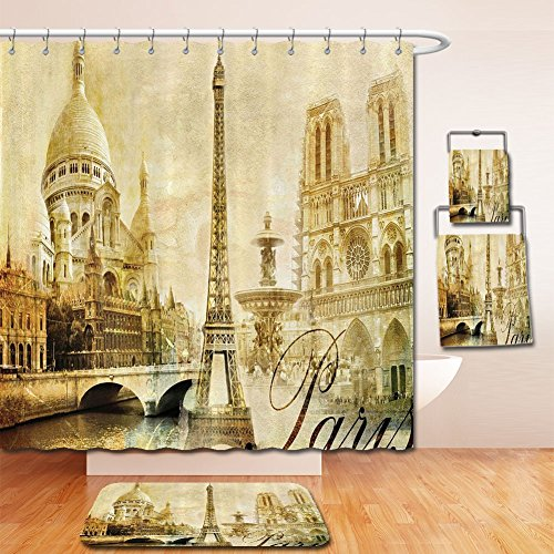 LiczHome Bath Suit: Showercurtain Bathrug Bathtowel Handtowel PariDecor Collection Antiqueandscape Eiffel Tower Franceandmarks Vintage Picture Cloth Fabric Sepia Yellow For - Tower Place Chicago Water