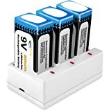 Keenstone 3-Slot 9V Battery Charger with 9V 800mAh Rechargeable Li-ion Battery For Smoke Detector Multimeter Alarm System(3-Pack)