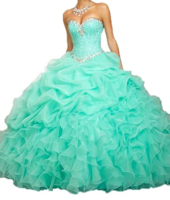 c5a9972d4fb Amazon.com  Aisha Women s Beaded Ball Gown Sweetheart Organza Quinceanera  Dresses Prom Gowns  Clothing