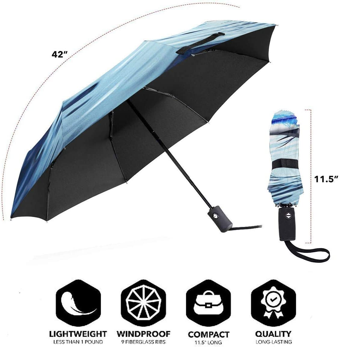 Sailfish Compact Travel Umbrella Rain Umbrella Windproof Lightweight Auto Open//Close Folding Umbrella Rain Repellent Canopy Newly Handle