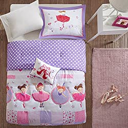 CA 3 Piece Multi Color Dancing Duchess Comforter Set Twin, Purple Pink Girls Ballerina Character Patchwork Floral Ppolka Dot Checkered Teen Themed Kids Bedding for Bedroom Casual, Polyester