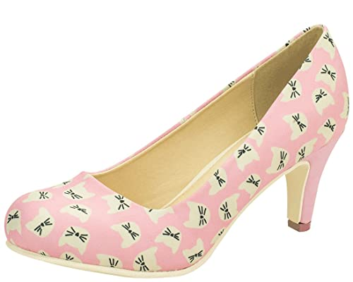 T.U.K Shoes Womens Pink Polka Dot Starlet Heel