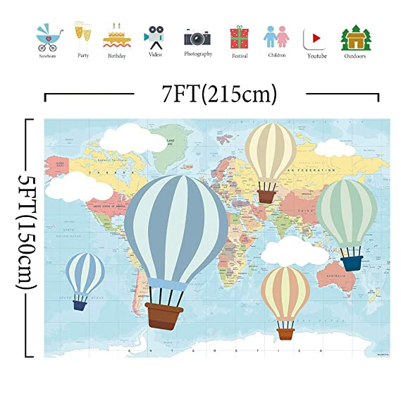 84068183e097d Amazon.com : Allenjoy 7x5ft Hot Air Balloon Birthday Backdrop Oh The Places  You'll go Photography Background Travel and Adventure Pilot 1st First  Birthday ...