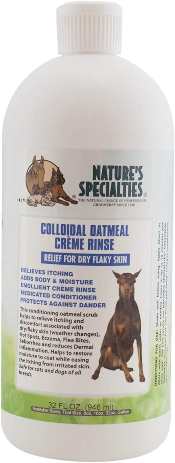 Nature's Specialties Colloidal Oatmeal Creme Rinse for Dogs Cats, Non-Toxic Biodegradeable, 32oz