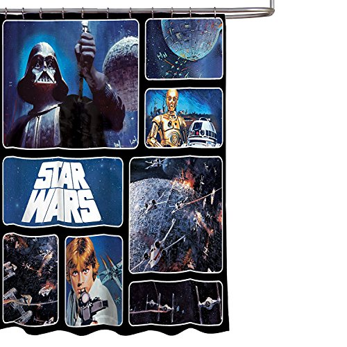 Star Wars Bathroom Set, Shower Curtain, Hooks, Bath Towel, Bath Rug, and Wastebasket by Franco