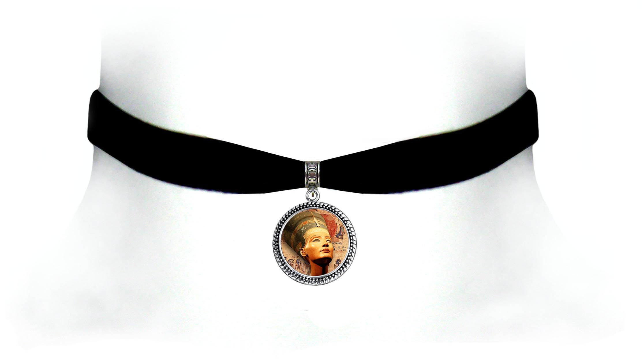 Victorian Vault Egyptian Art Black Velvet Choker Steampunk Gothic Pendant Necklace (Nefertiti Color)