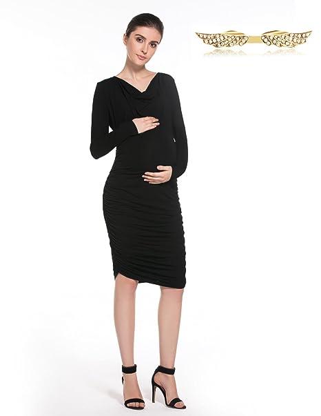 BYD Ropa Premamá Elegante Vestidos V-escote Collar de Pilas Mujer Mama Manga Larga Vestido