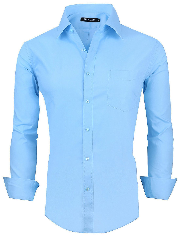 XTAPAN Men's Long Sleeve Casual Slim Fit Button Down Dress Shirt Light Blue US Size XL 0424