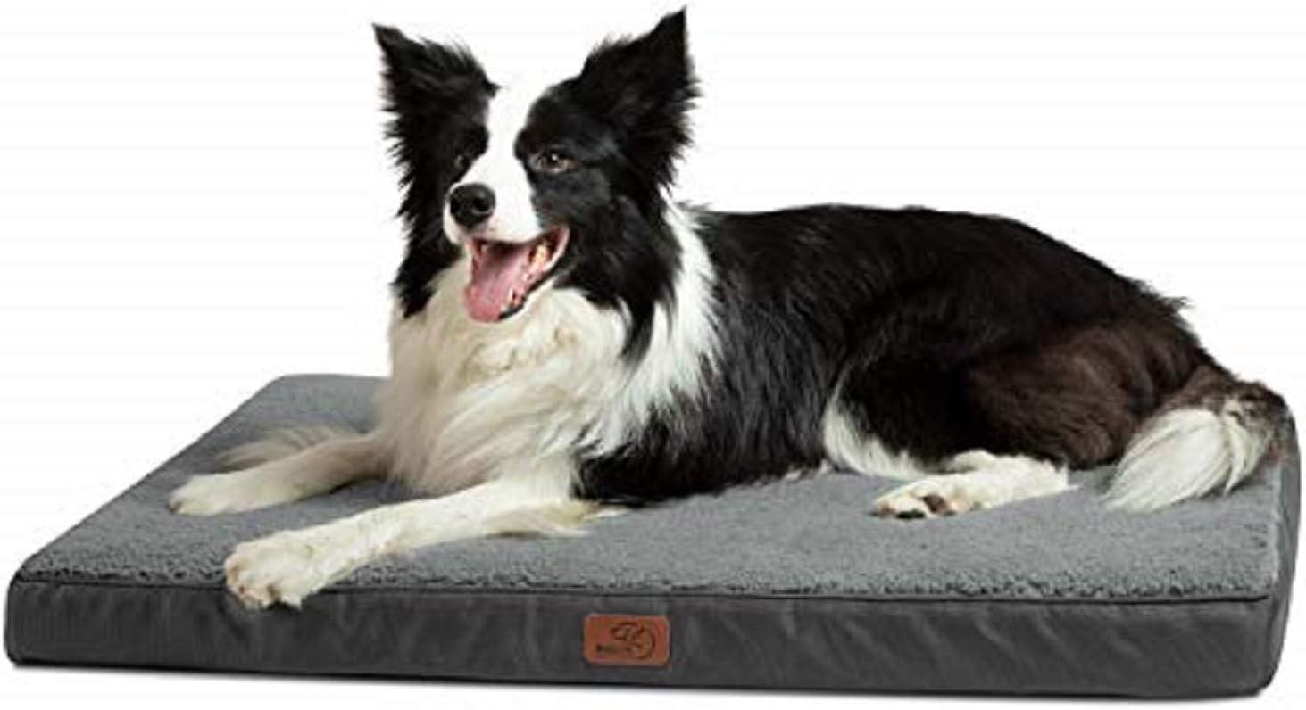 Bedsure Cama Perro Grande Ortopédica - Colchón Perro Lavable Verano L, Desenfundable con Espuma De Caja De Huevos, 91x68x7.6 cm, Gris
