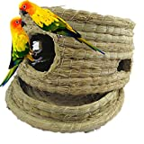 FUNNY365 Nature Nest Straw Bird Cage For Parrot Budgies House Hatching Breeding Cave, Hamster Bed House