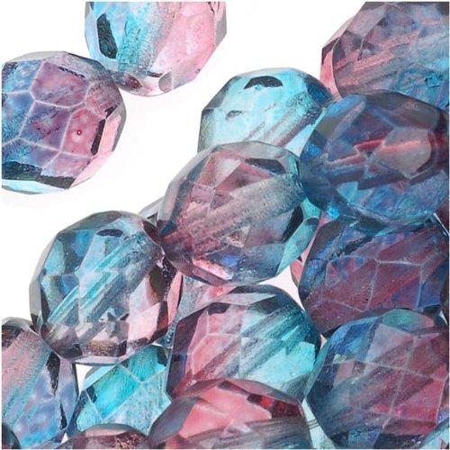 Jablonex Czech Fire Polished Glass Beads 8mm Round Two Tone Teal/Fuchsia (25)