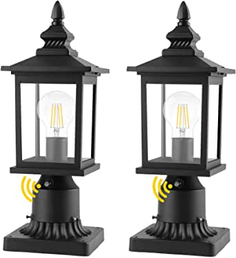 PARTPHONER Dusk to Dawn Outdoor Post Lights with Pier Mount Base, Waterproof Outside Pole Lantern Light Fixture, Exterior Lamp Post Lantern Head with Clear Glass Panels for Garden Patio, 2 Pack