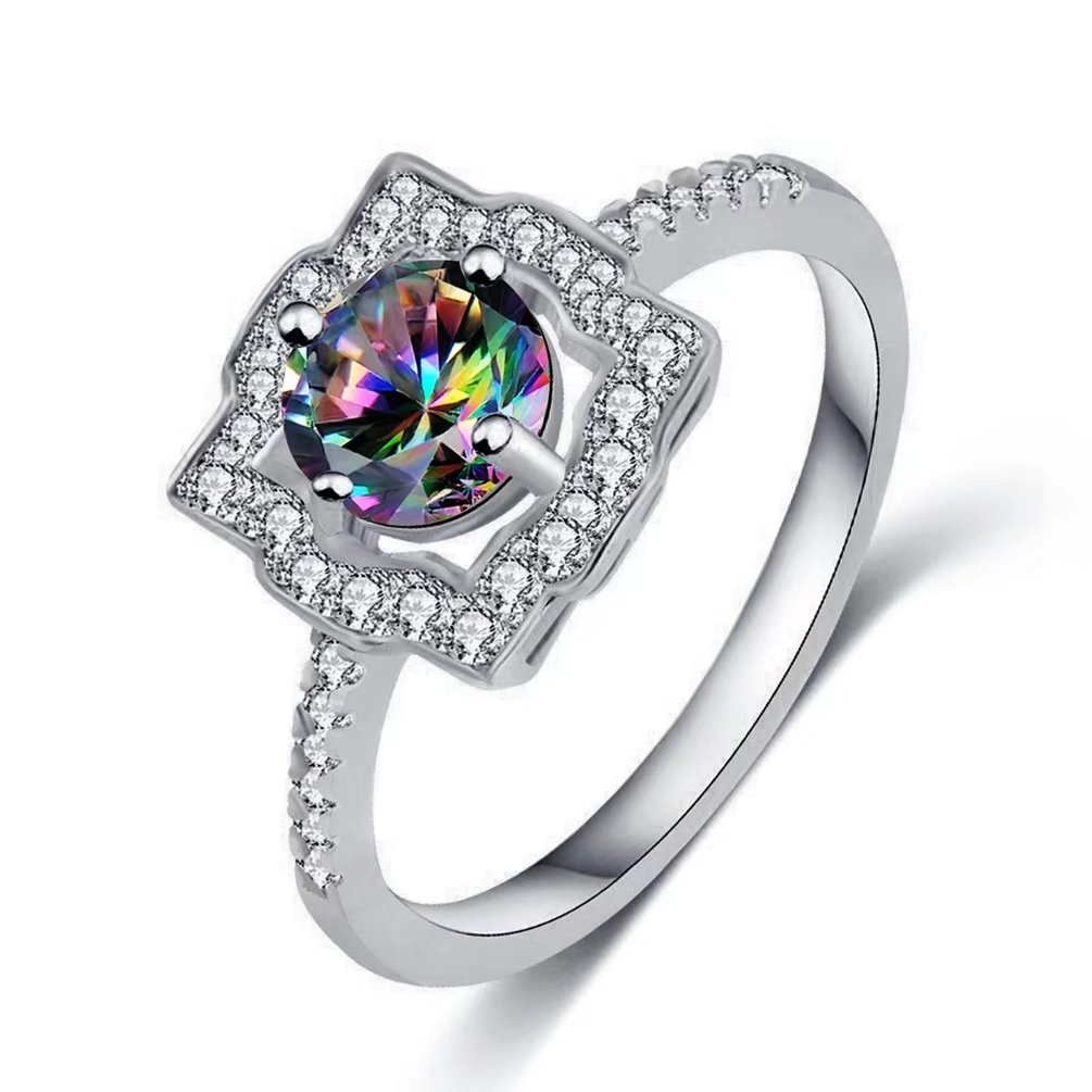 FENDINA 18K White Gold Plated Created Sparkle Created Rainbow Topaz Ring Clear Cubic Zirconia Engagement Eternity Rings for Women (8)