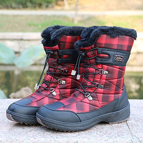 Winter Round Soft Hiking Size PADGENE Girls Snow Toe Sole Warm Womens Keep UK Boots Red Waterproof Boots qEwvAgw