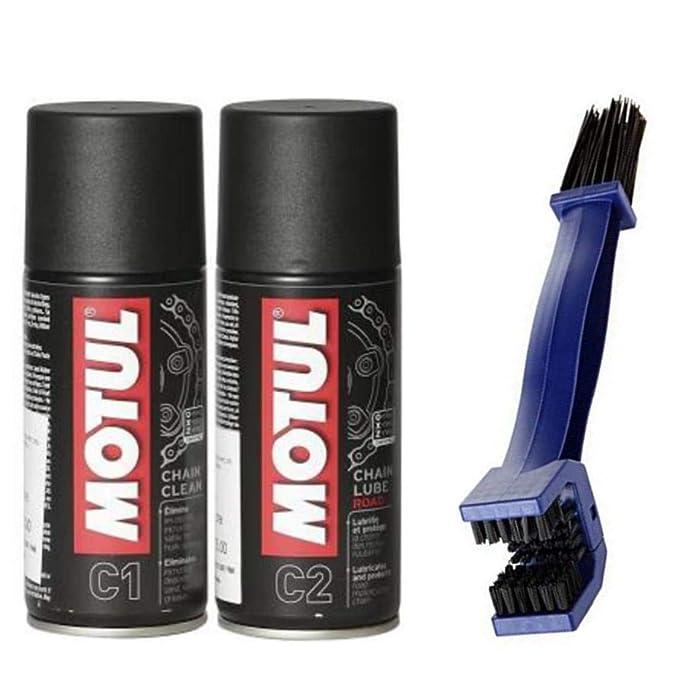 Motul Trenzfest Chain Clean C1, 150ml and C2 Chain lube, 150ml with Bike Chain Cleaning Brush Oils   Fluids