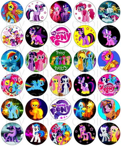 30 x Edible Cupcake Toppers – My Little Pony Themed Collection of Edible Cake Decorations | Uncut Edible Prints on Wafer -