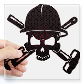 2b7d7305499 Amazon.com  CafePress Red and Black Honeycomb Oilfield Skull Sticker ...
