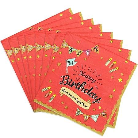 Tomkity 60pz Servilleta Papel Cumpleaños Baby Shower ...