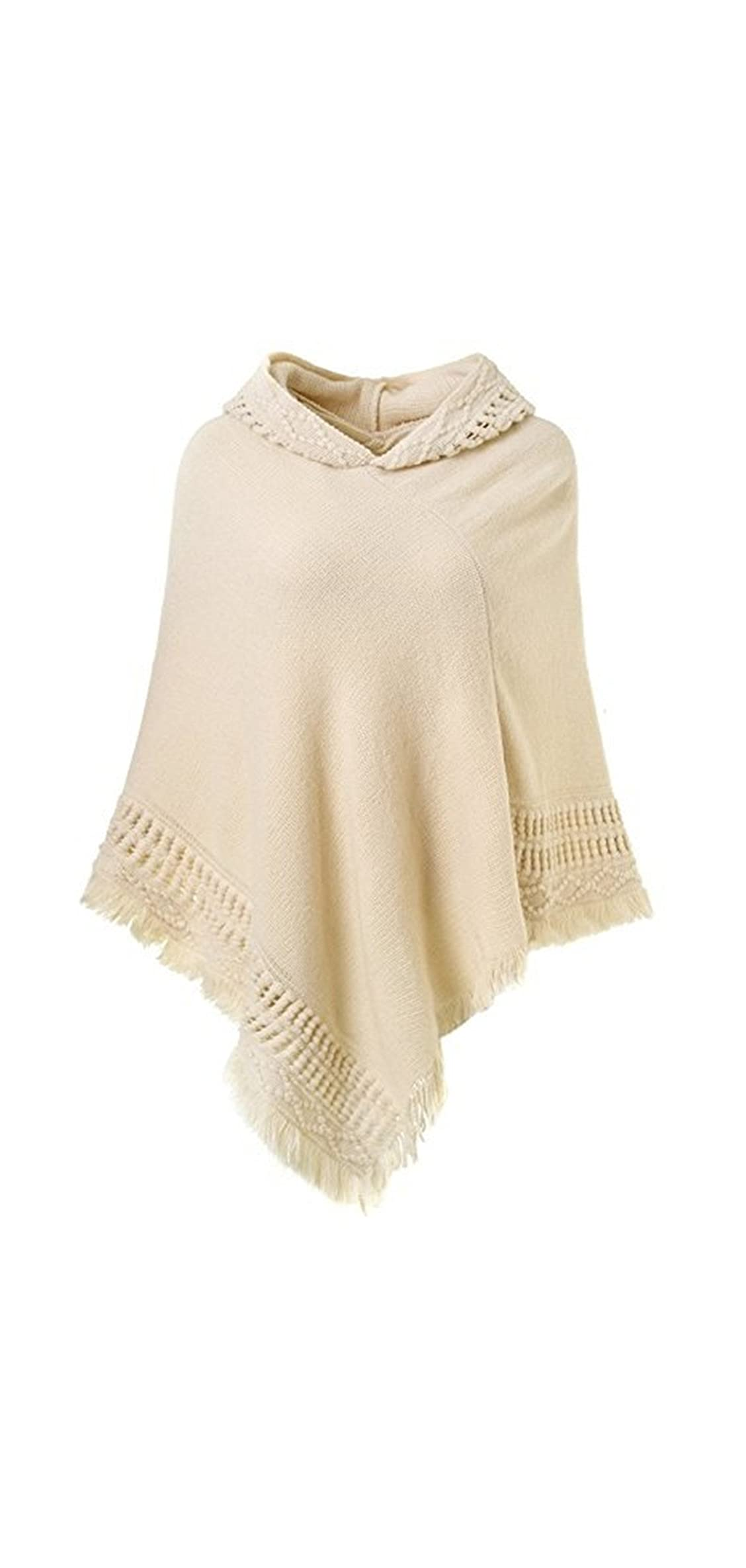 Women's Ponchos Shawls Capes Hooded Knitted Wrap Coats