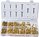 Swordfish 32051 Brass Plated Wood Screw Assortment, 500 Piece