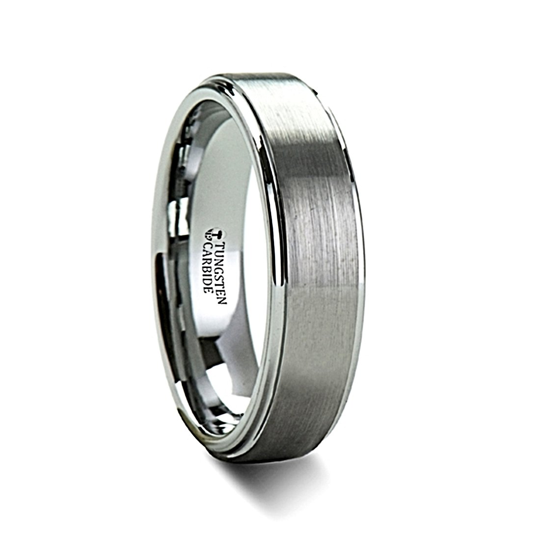 Thorsten Optimus Brush Finish Raised Center Polished Edge Tungsten Ring 4mm Wide Wedding Band from Roy Rose Jewelry