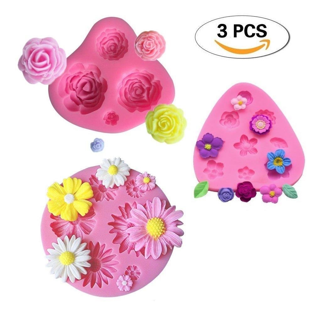 Mity Rain Flower Cake Fondant Molds 3 Pack Mini Flower Silicone Molds Roses Flower Mold Daisy Flower Molds and Small Flower Molds Accessories Molds