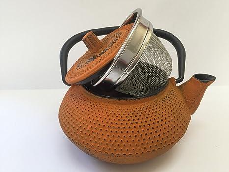 Tetera de hierro colado con filtro - capacidad 0.3 litros y color naranja - teteras para vitroceramica, inducción y gas – tetera de metal pequeña ...