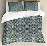 Arabian Queen Size Duvet Cover Set by Lunarable, Little Lily and Daisy Blooms Old Arts with Nature Inspirations Arabesque Elements, Decorative 3 Piece Bedding Set with 2 Pillow Shams, Multicolor