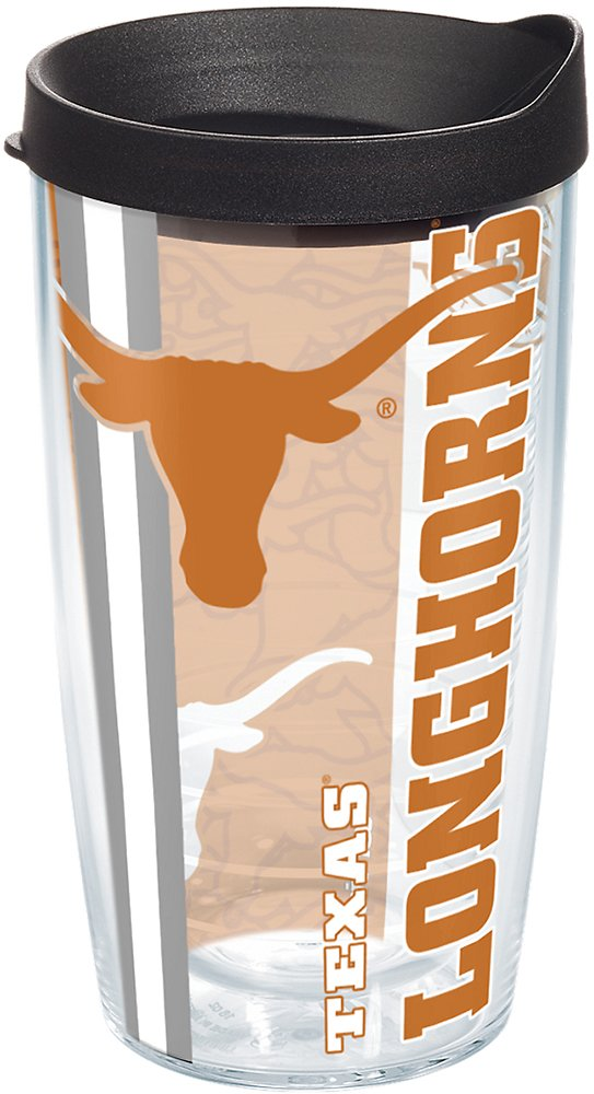 Tervis 1215932 Texas Longhorns College Pride Tumbler with Wrap and Black Lid 16oz, Clear by Tervis