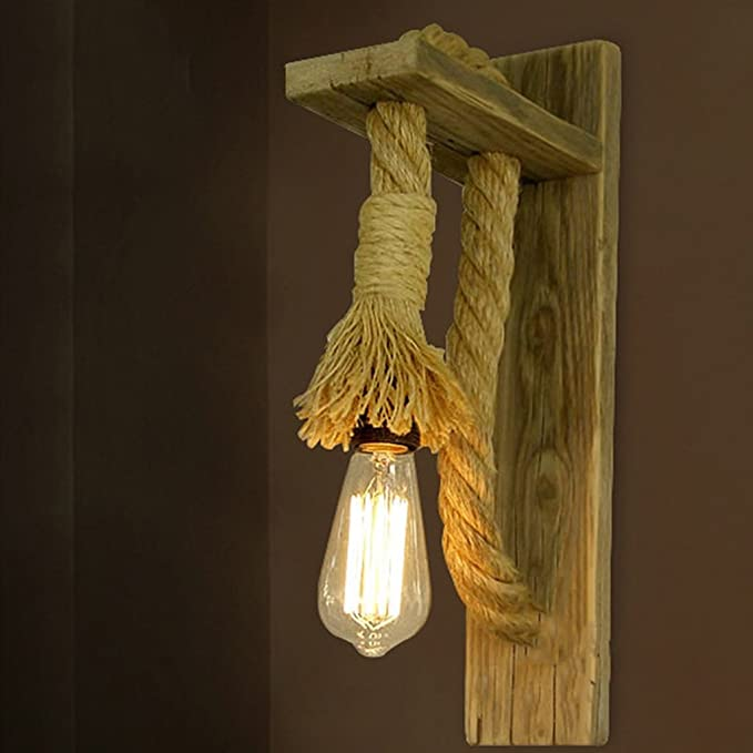 Amazon.com: Lámpara de pared, retro, cable de cáñamo para ...