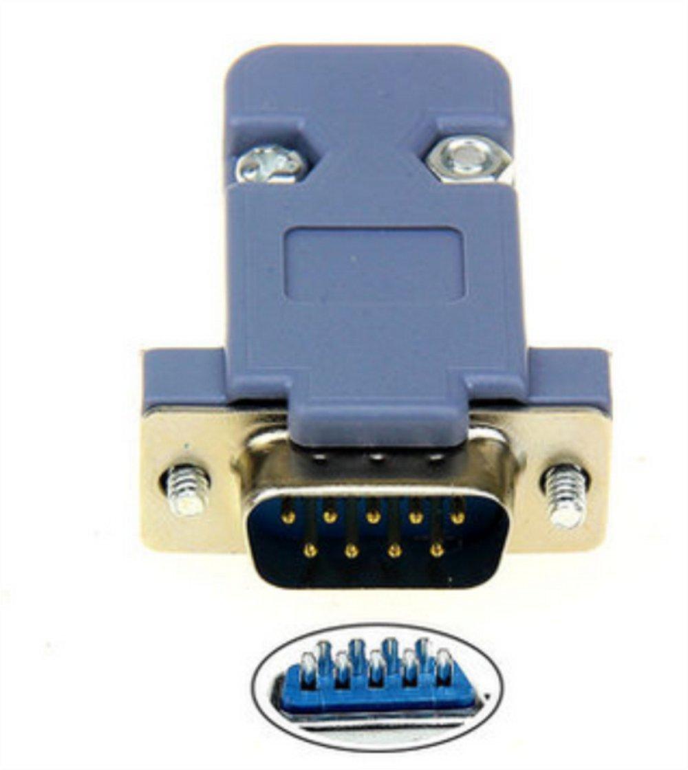 5Sets 9Pin Male//Female D-Sub Plug Solder Connector RS232 Serial DB9 w// Grey Hood