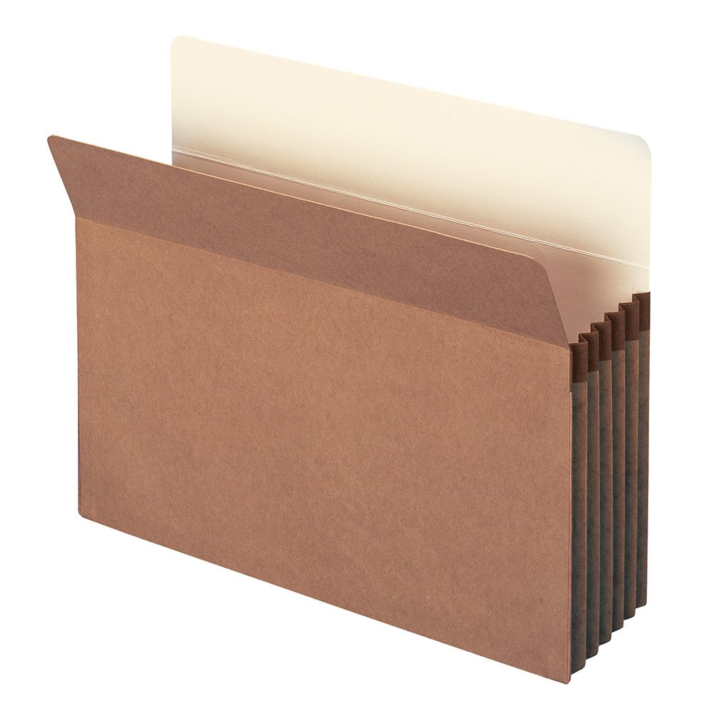 Smead File Pocket, Straight-Cut Tab, 5-1/4'' Expansion, Letter Size, Redrope, 20 per Box (73237)