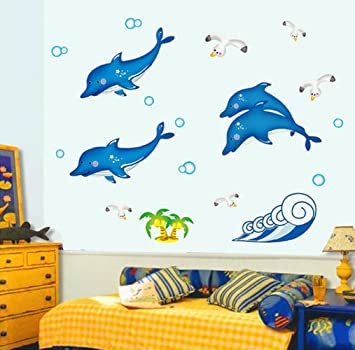 Pesp® Dolphin Jump Ocean Wall Decals Removable PVC DIY Fluorescent Wall  Stickers Luminous Paste Wall