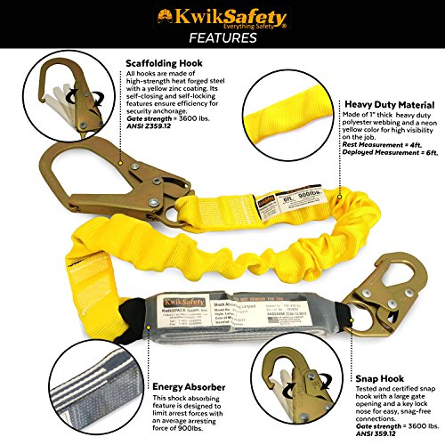 KwikSafety BOA | Single Leg 6ft Tubular Stretch Safety Lanyard | OSHA Approved ANSI Compliant Fall Protection | EXTERNAL Shock Absorber | Construction Arborist Roofing | Snap & Rebar Hook Connectors by KwikSafety (Image #3)