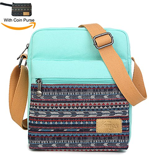 Girls Crossbody Purse Small Canvas Organizer Striped Messenger Bag Shoulder Bag for Traveling (Teal)
