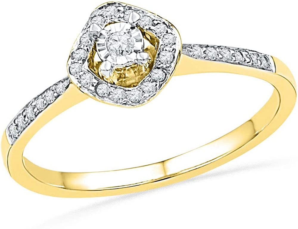 Diamond Solitaire Halo Engagement Ring Wedding Anniversary 1//6ct 10k Yellow Gold