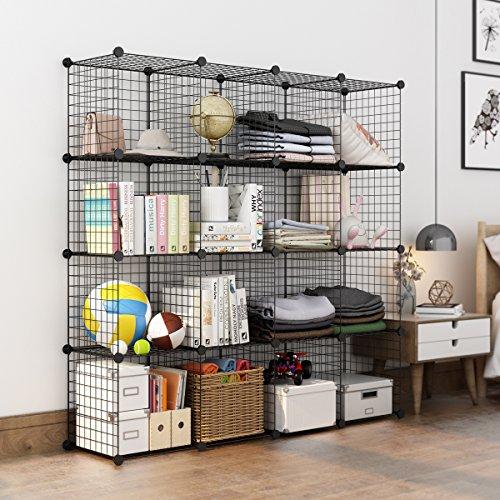 langria metal wire storage cubes modular shelving grids diy closet organization system. Black Bedroom Furniture Sets. Home Design Ideas