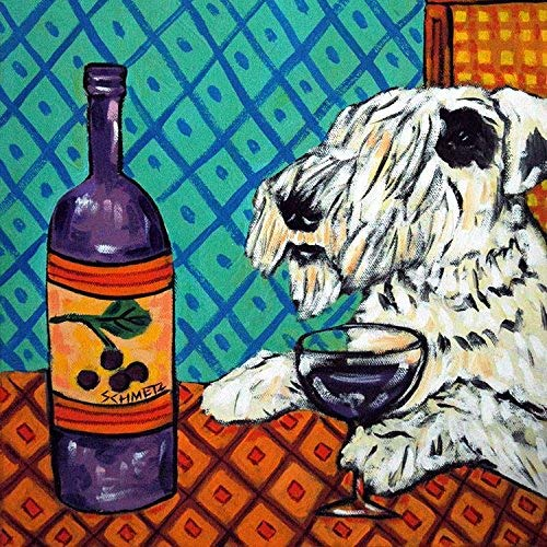 Sealyham Terrier at the Wine Bar Decor dog art tile coaster gift