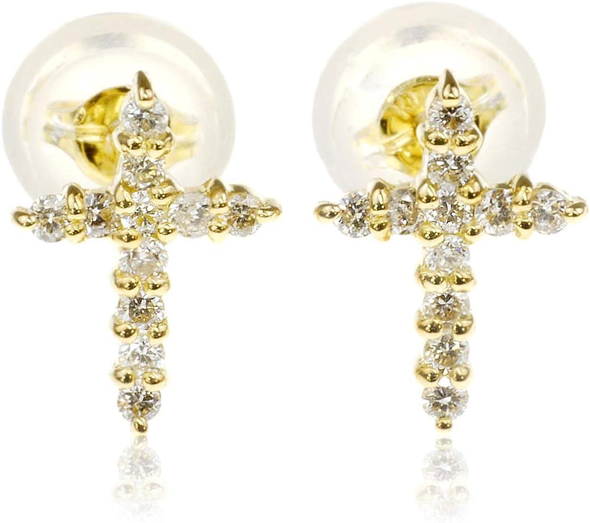 nadi K18 クロス ダイヤモンド 0.1ct ピアス 18金 イエロー ゴールド スタッド 十字架 ピアス