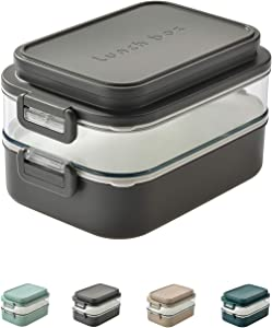 Linoroso-Dual Bento Boxes for Adults Kids|Modern Cute Stackable Lunch Box Meet ALL On-the-go Needs for Lunch Container,Salad Container for Lunch, Snack Box|Food Grade Safe PP Materials(COOL GRAY)